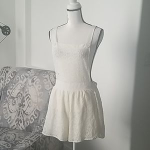 Band of Gypsies White Overall Romper Size L